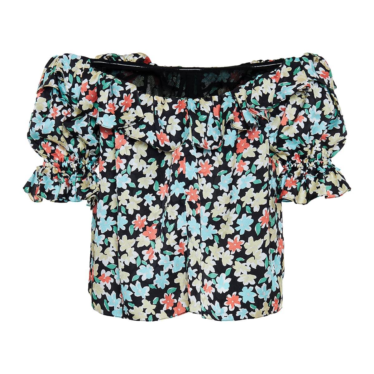 Off-the-shoulder floral silk top