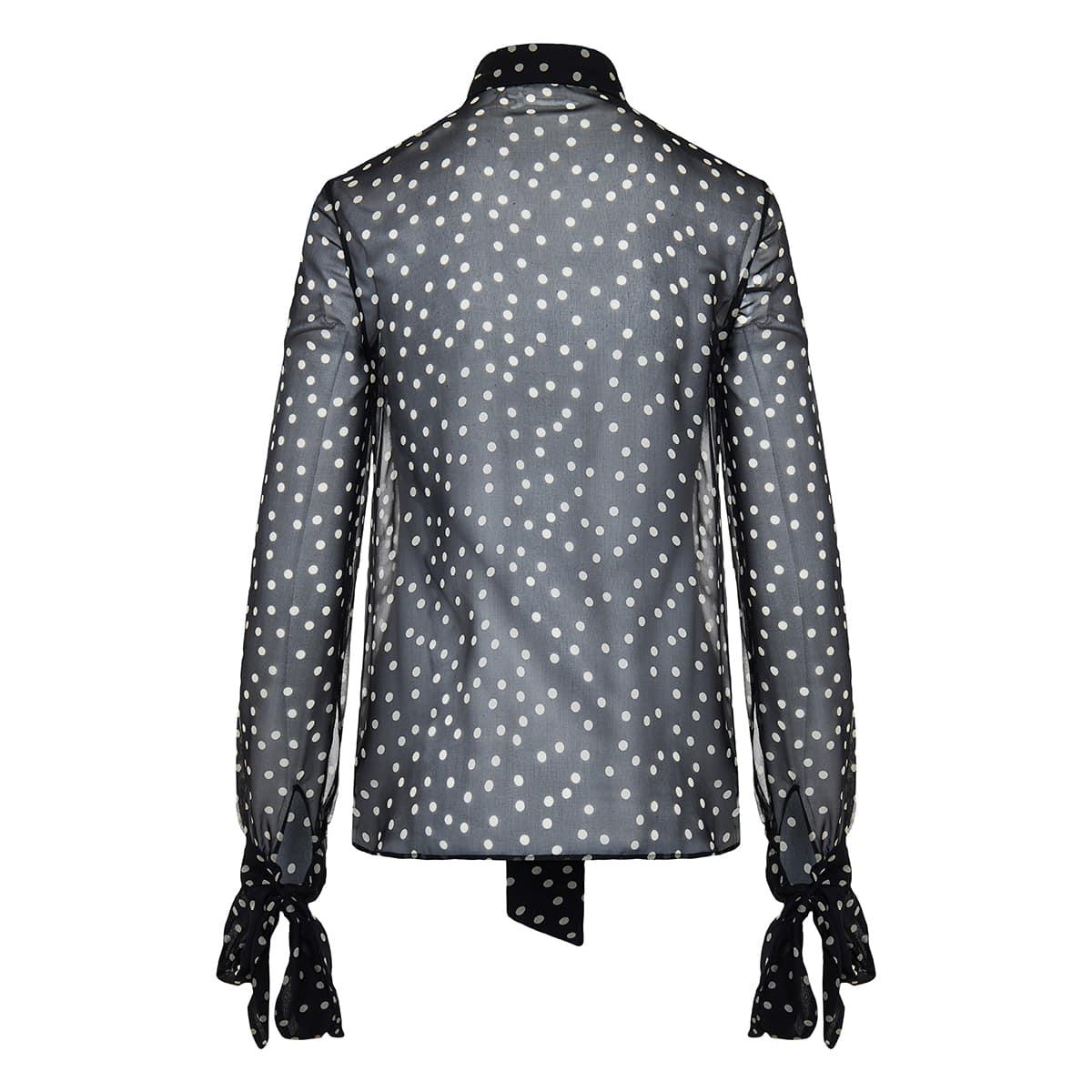Polka-dot bow-tie silk shirt