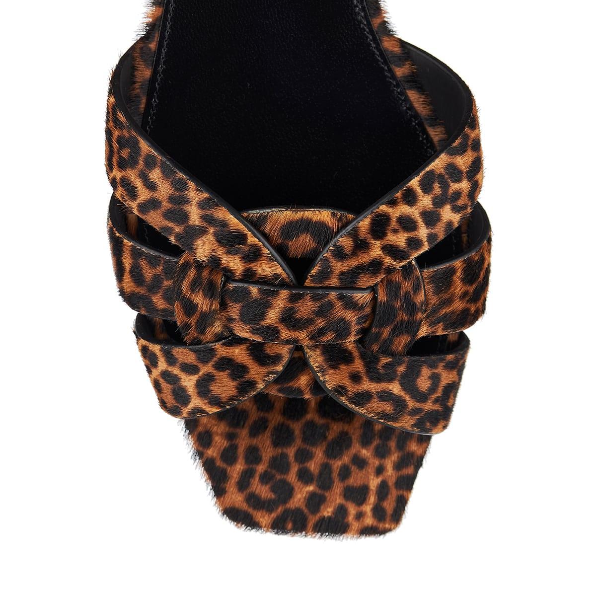 Tribute leopard calf-hair slides