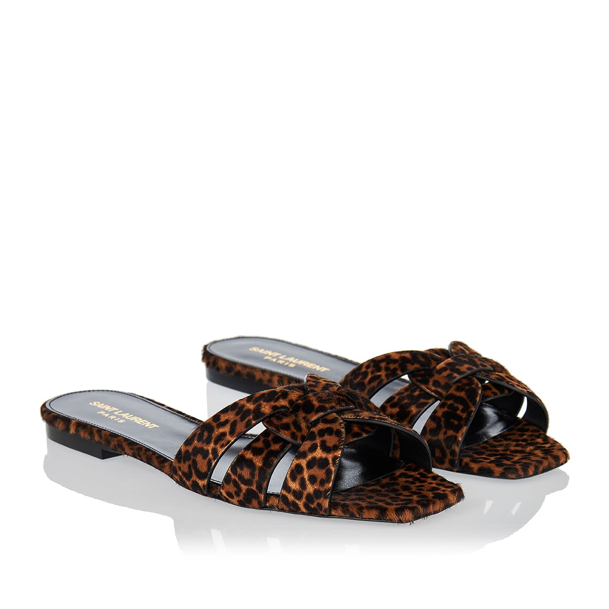 Tribute leopard calf-hair slides