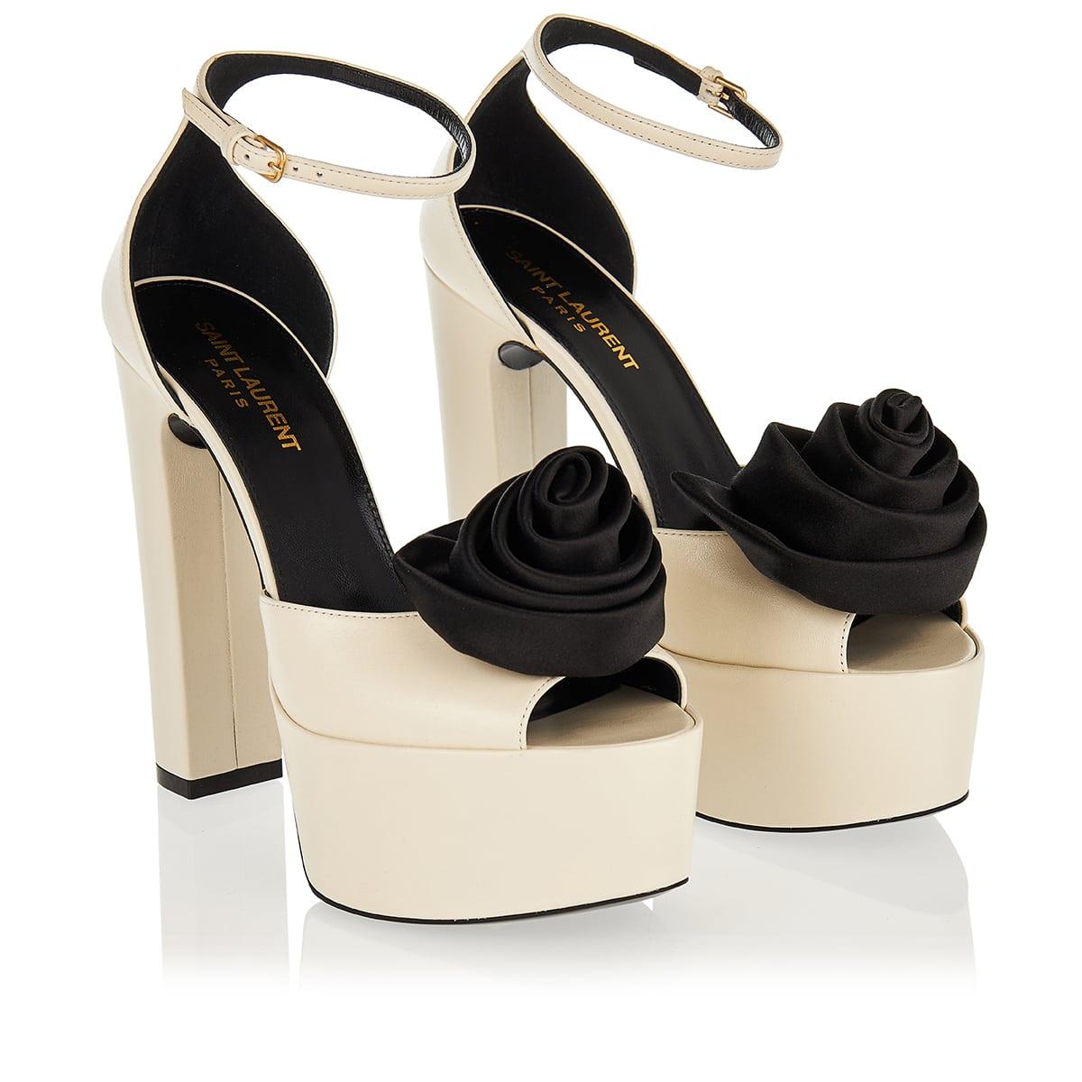 Jodie platform sandals with satin flower