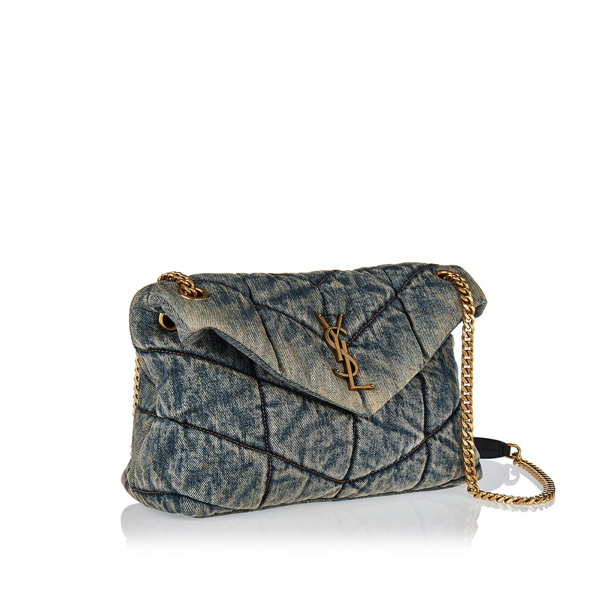 Loulou small puffer denim bag