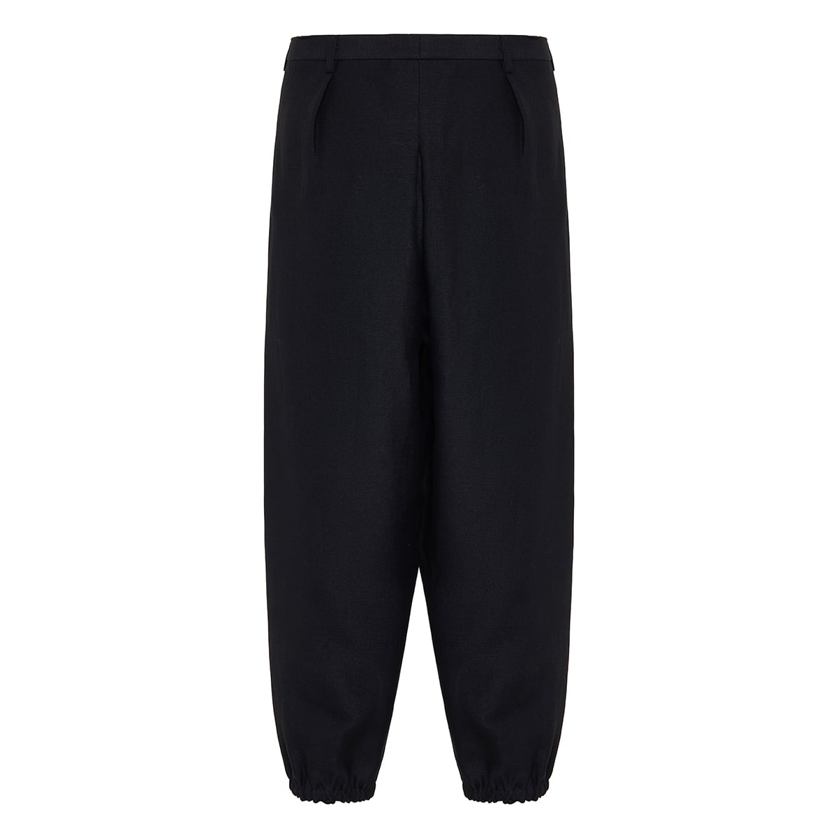 Pleated cropped linen trousers