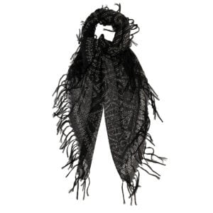 Printed fringed scarf
