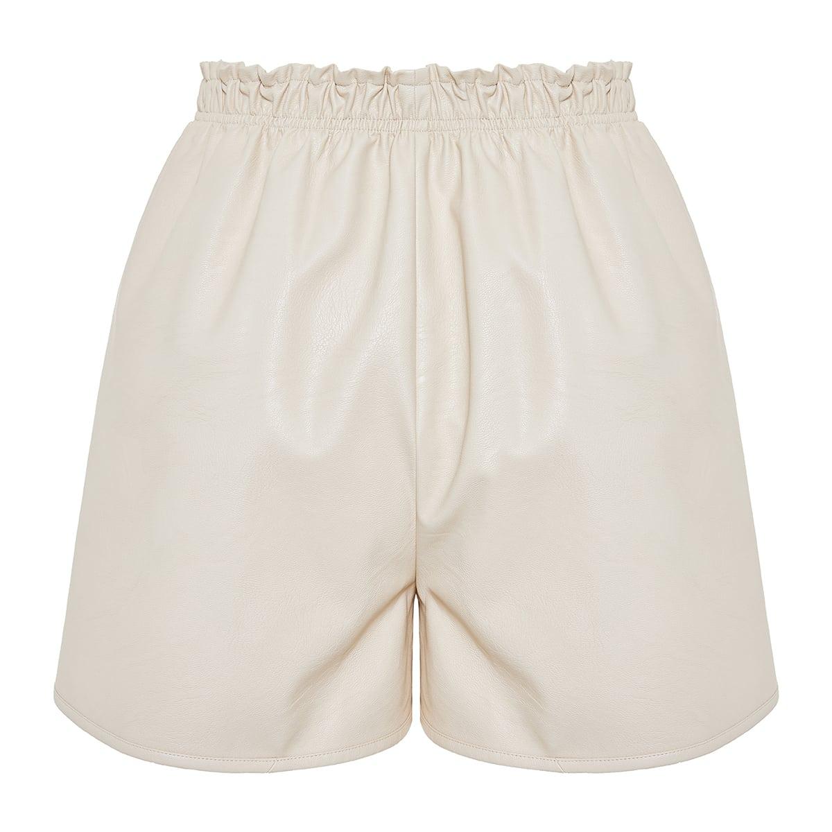 Lane faux-leather shorts
