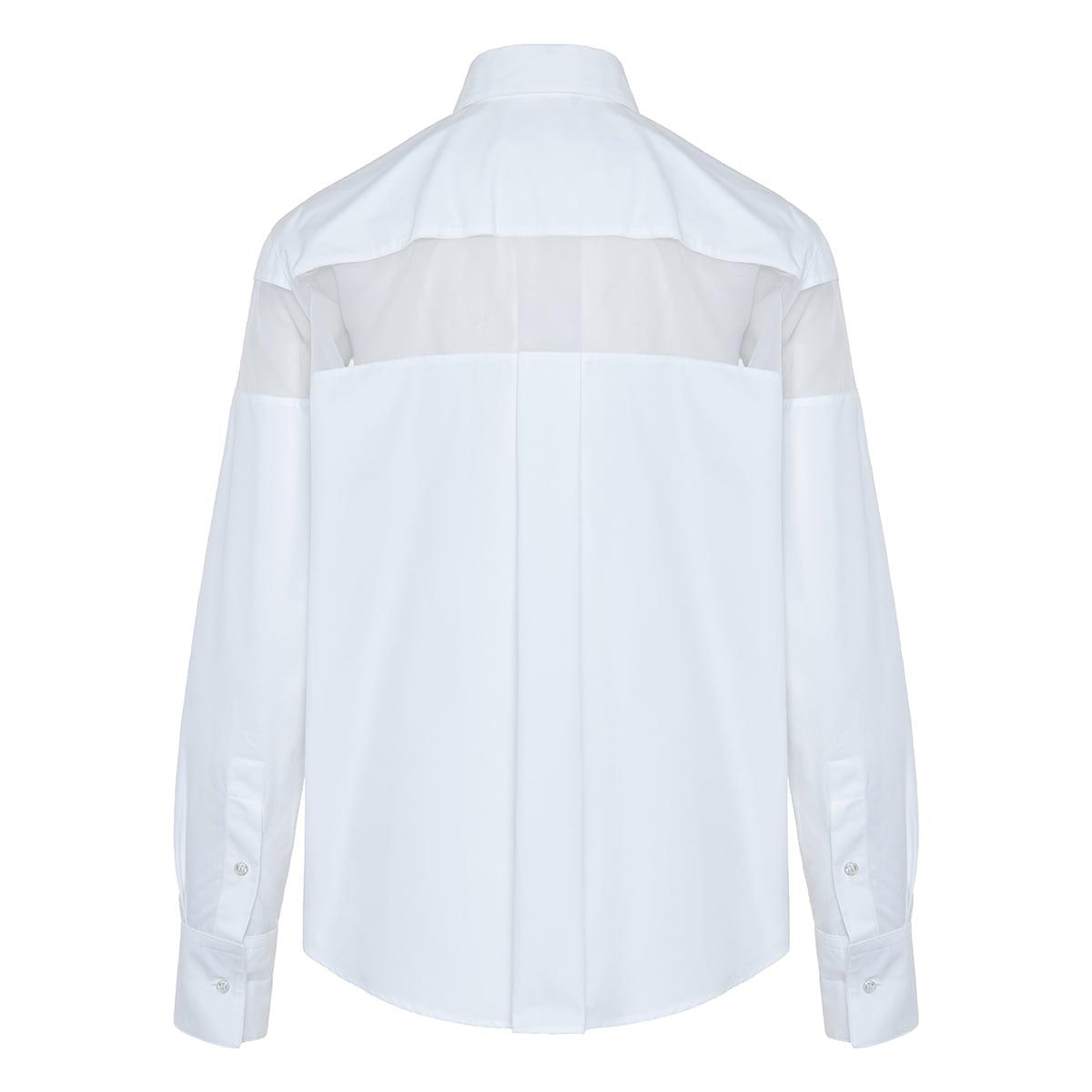 Sheer-panel poplin shirt