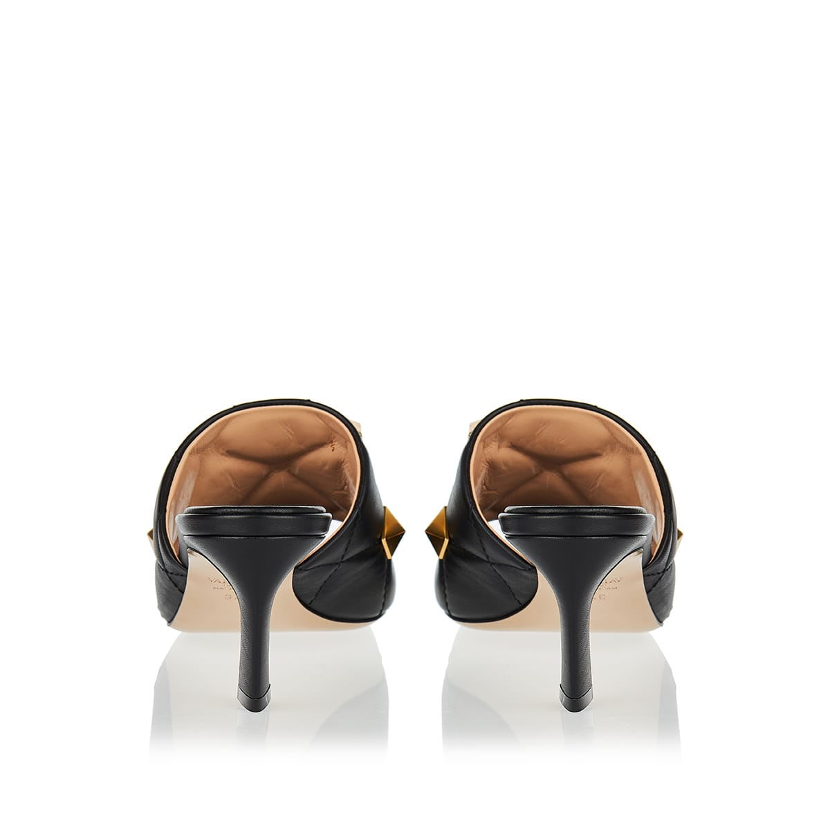 Roman Stud quilted leather mules
