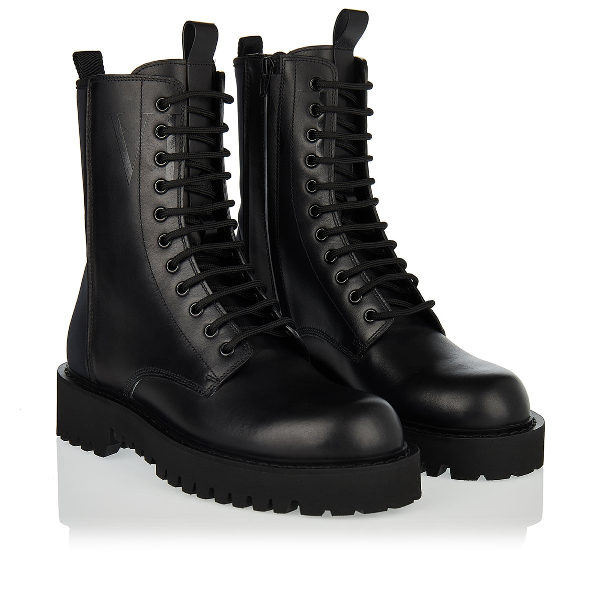 Neoprene and leather combat boots