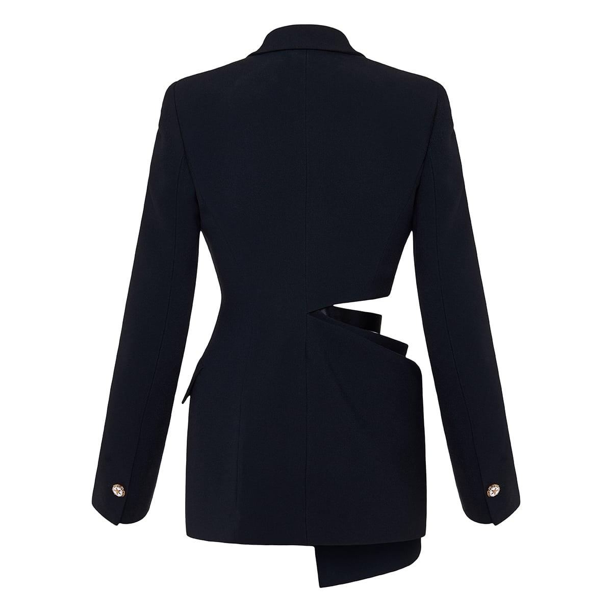 Cutout draped blazer