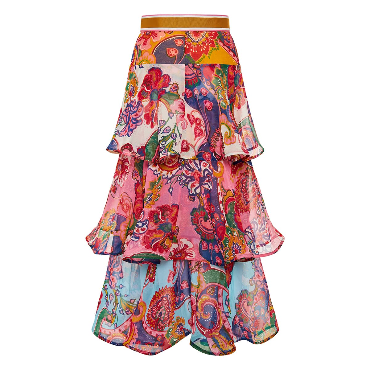 Lovestruck printed flounce midi skirt