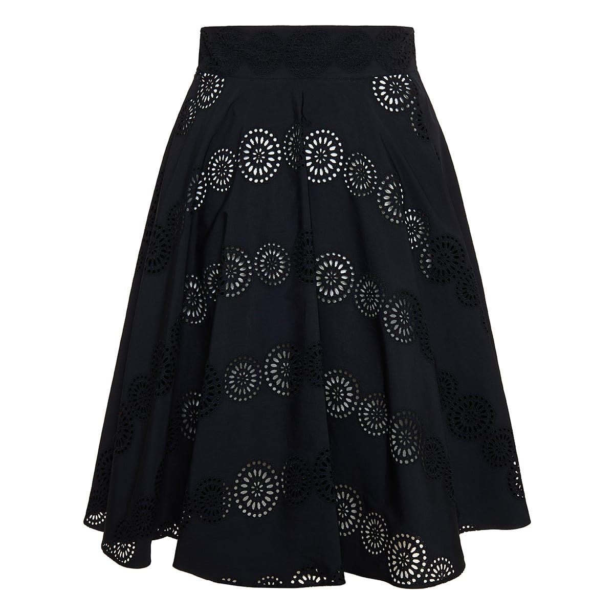 Broderie anglaise pleated cotton skirt