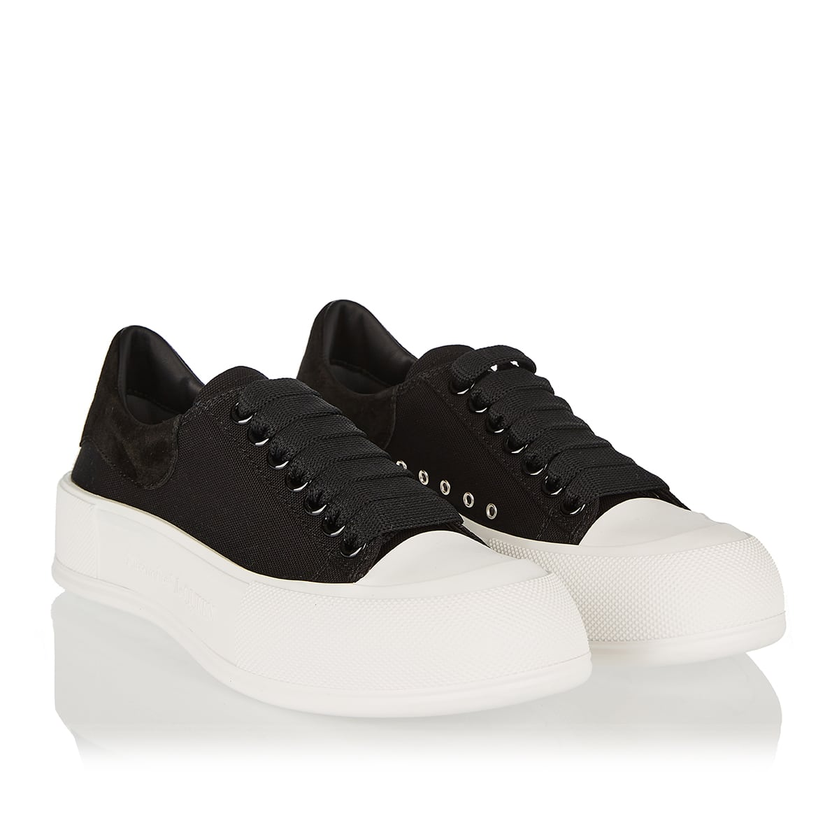 Oversized-sole canvas sneakers