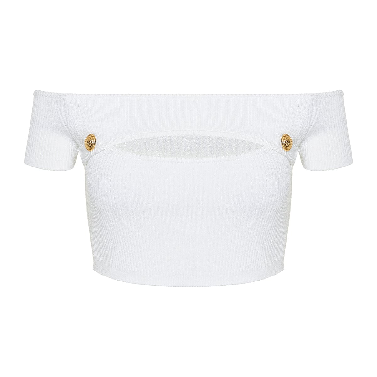 Off-the-shoulder cutout cropped top