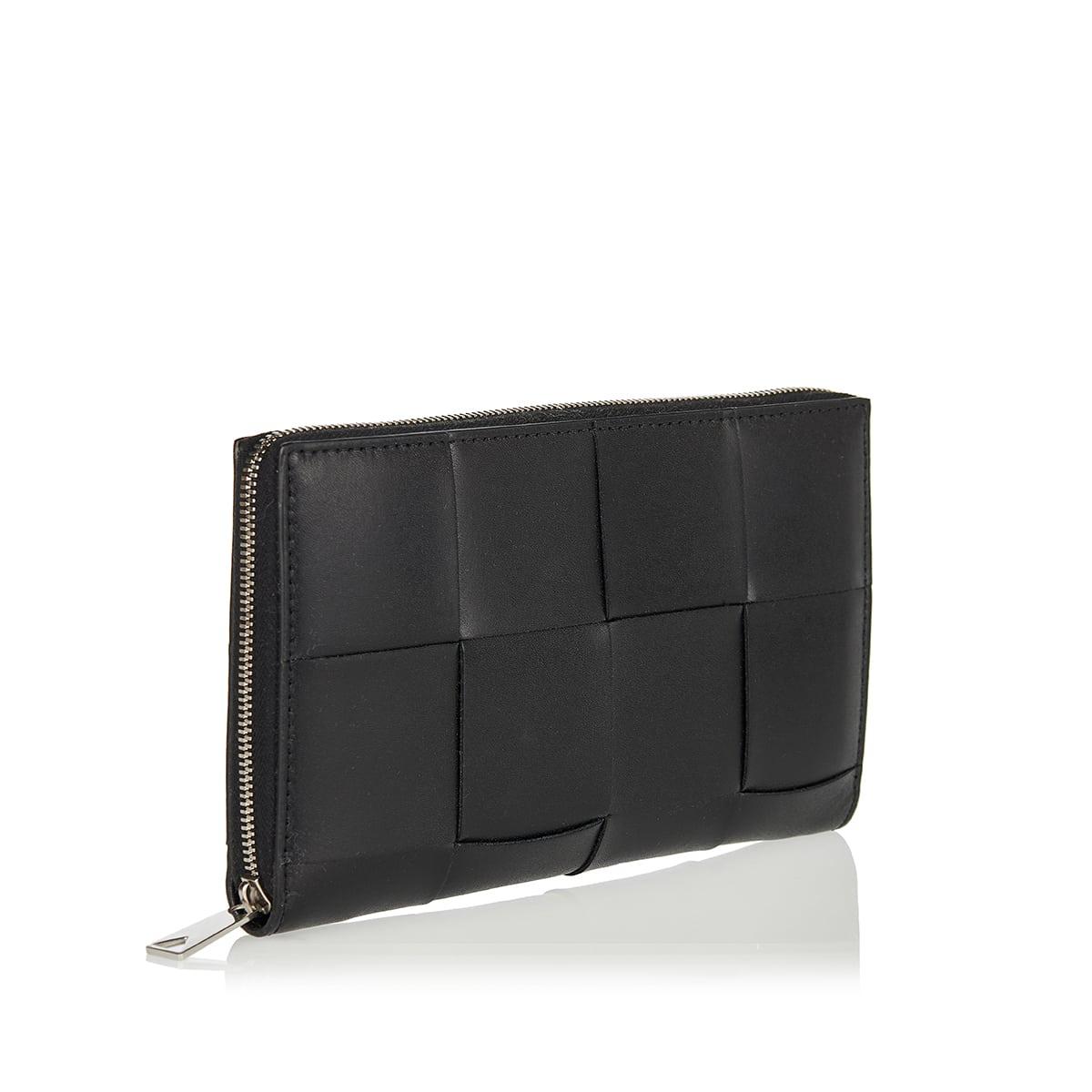 Leather woven zip-around wallet