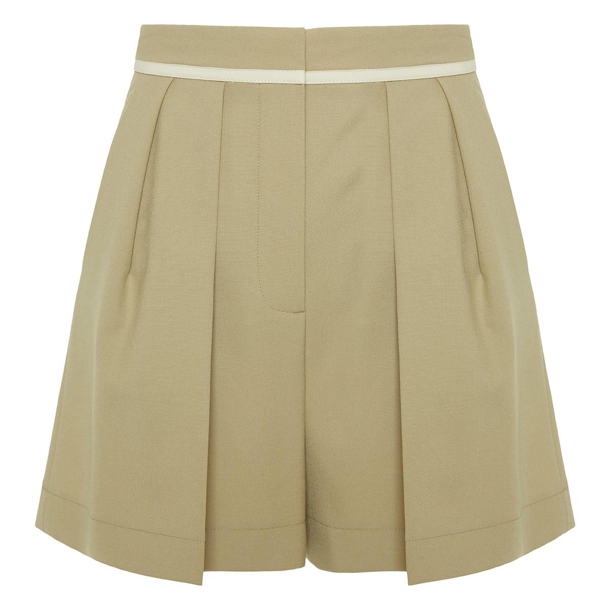 Ariel pleated wool shorts