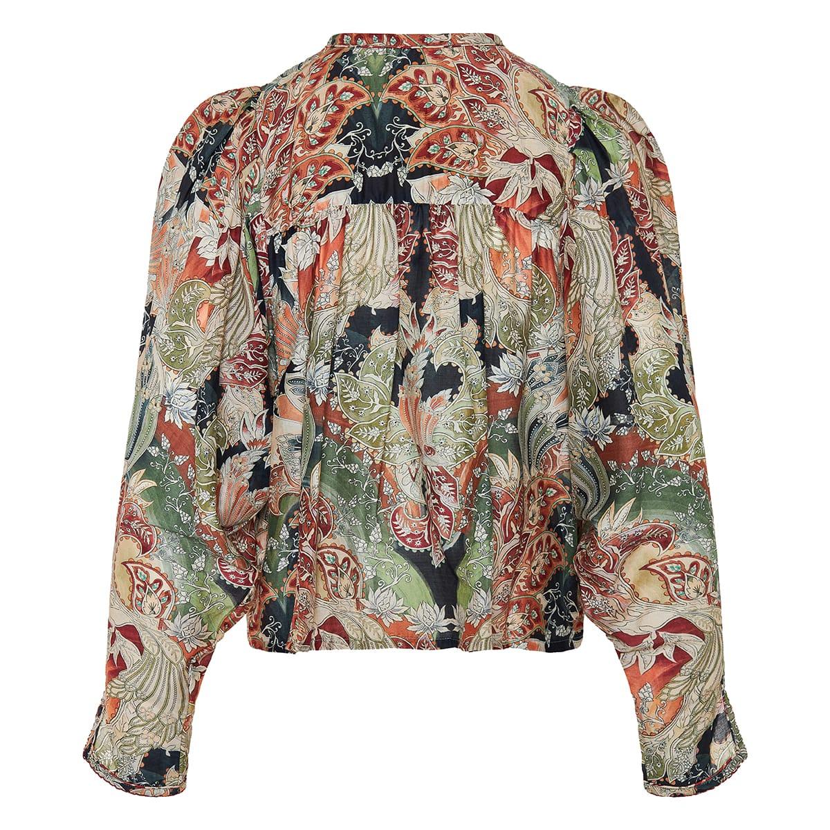 Nele puff-sleeved printed blouse