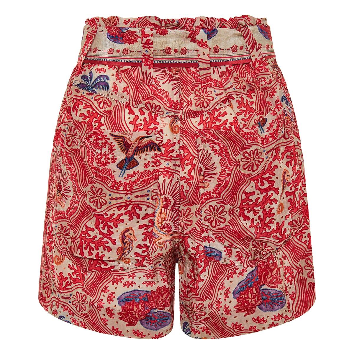 Nu printed belted shorts