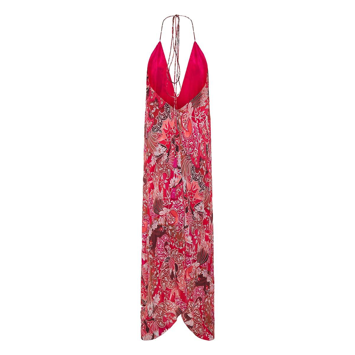 Cho printed long halterneck dress