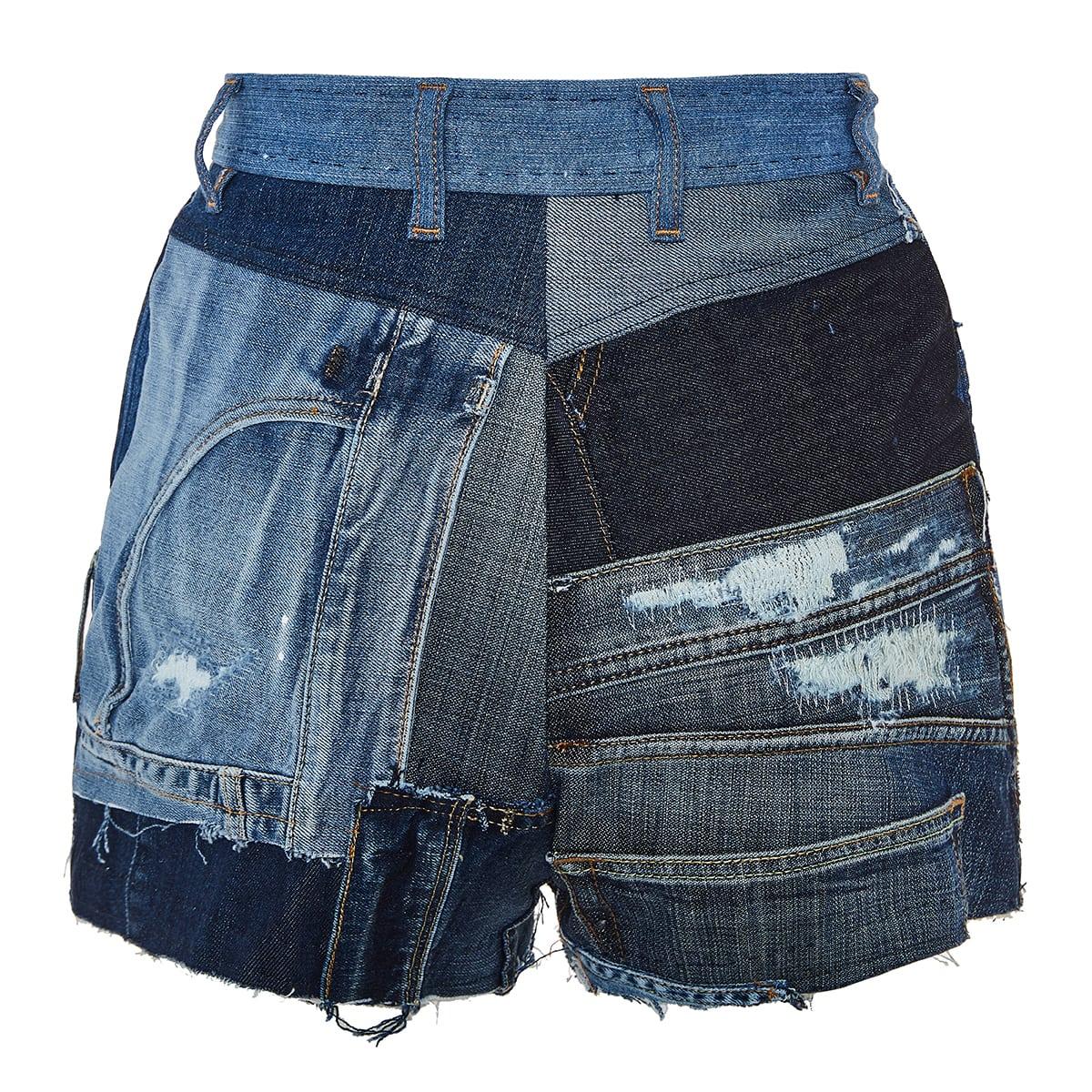 Patchwork denim mini shorts