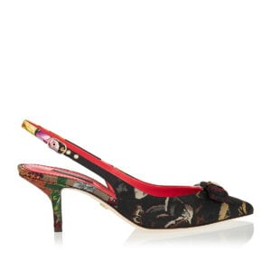 Floral brocade slingback pumps