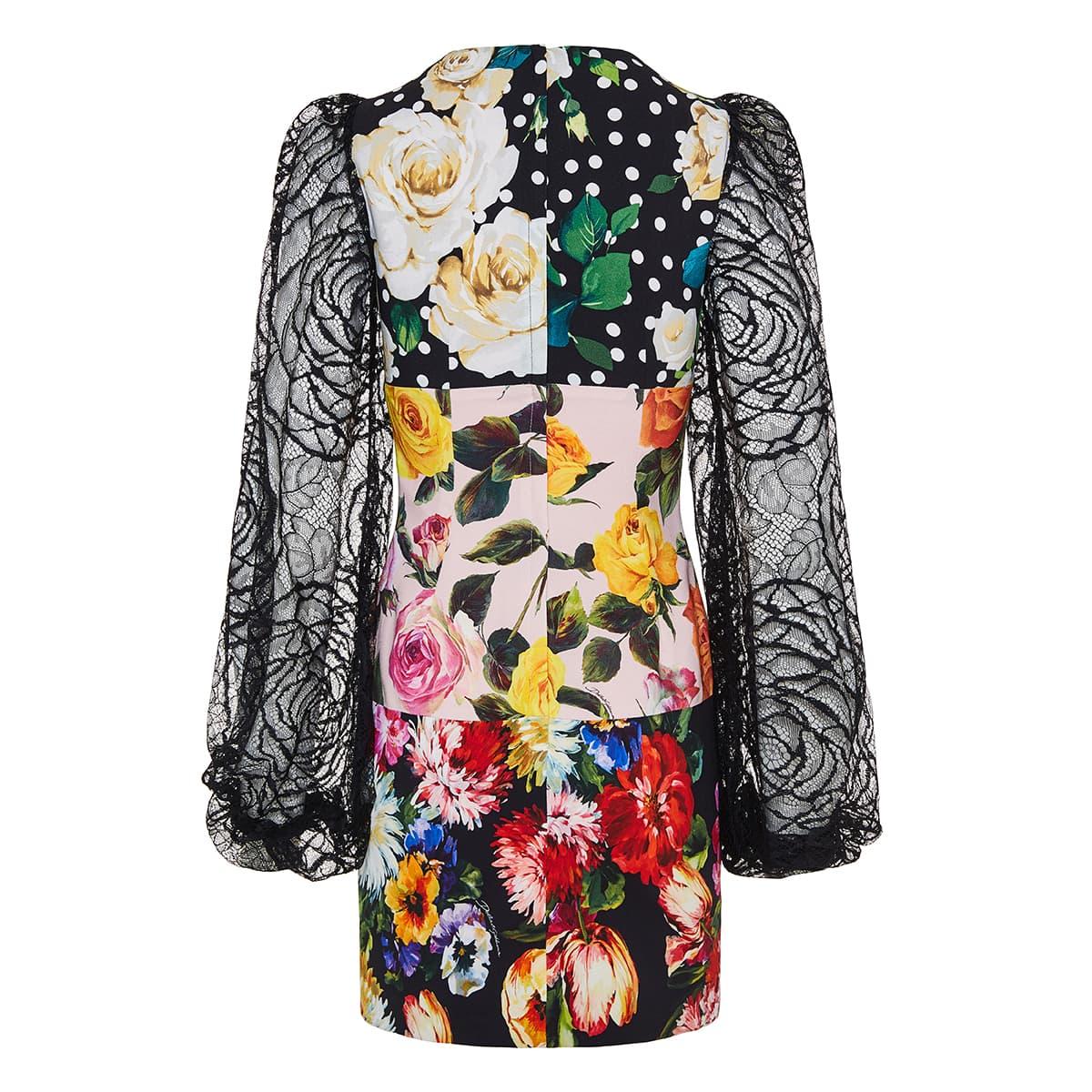 Lace-paneled floral mini dress