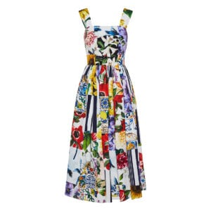 Patchwork-print pleated midi dress