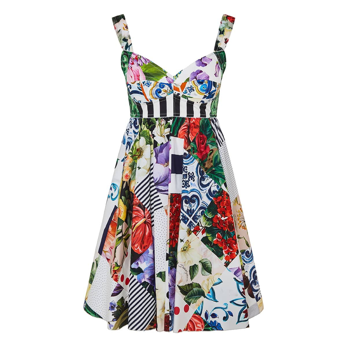 Patchwork-print flared mini dress