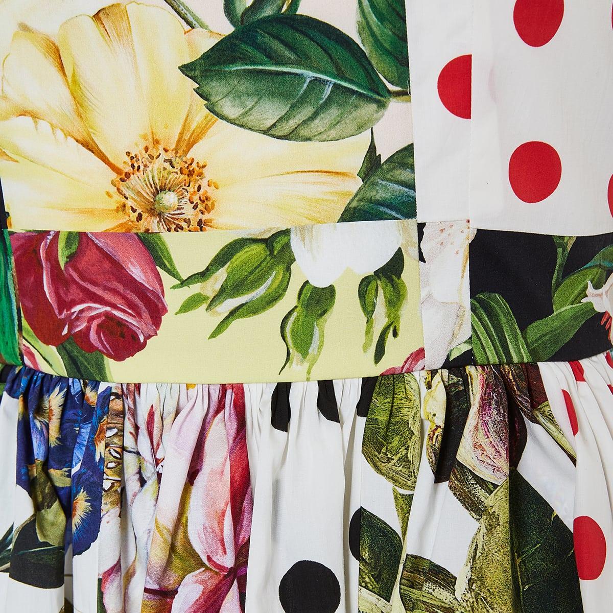Patchwork-print flared midi dress