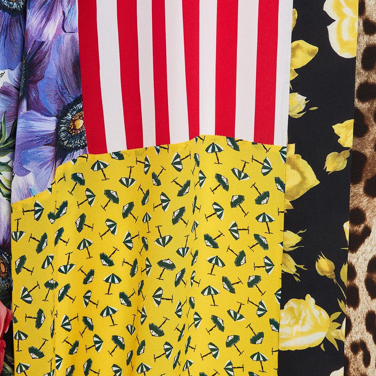 Patchwork-print long kaftan dress