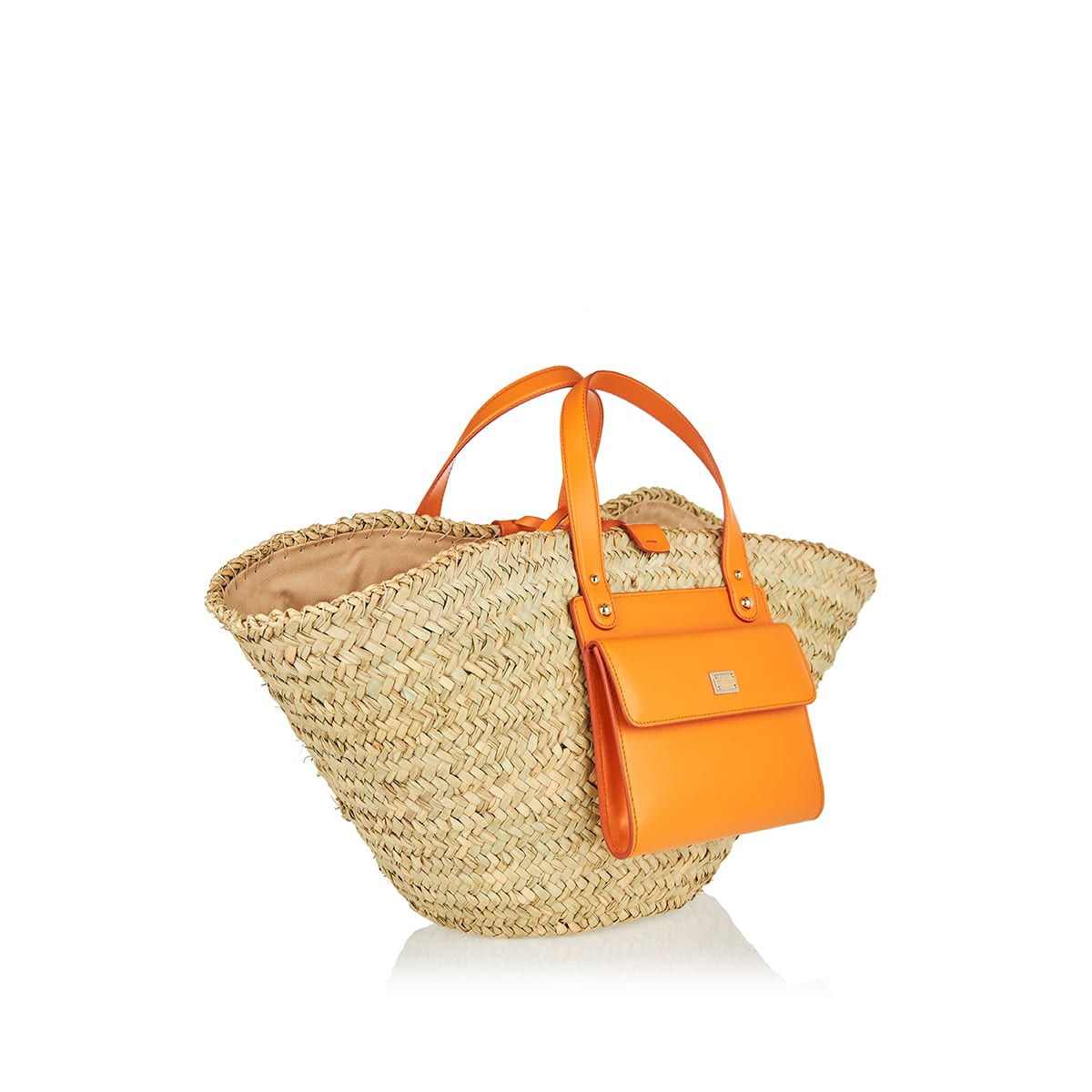 Kendra straw and leather basket bag