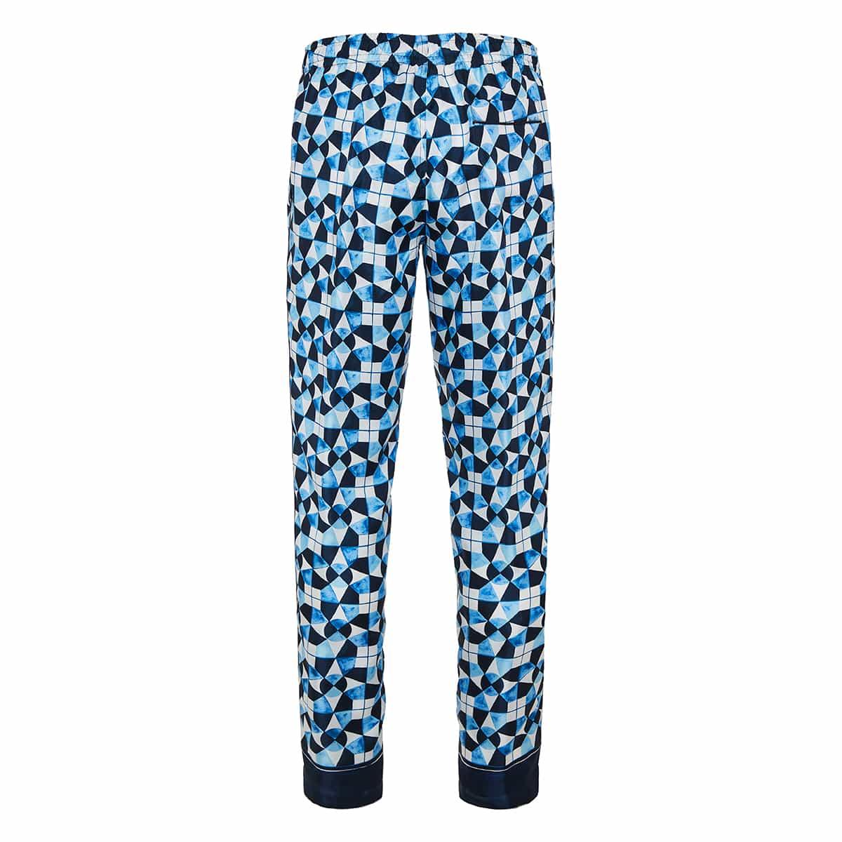 Majolica print silk pajama trousers