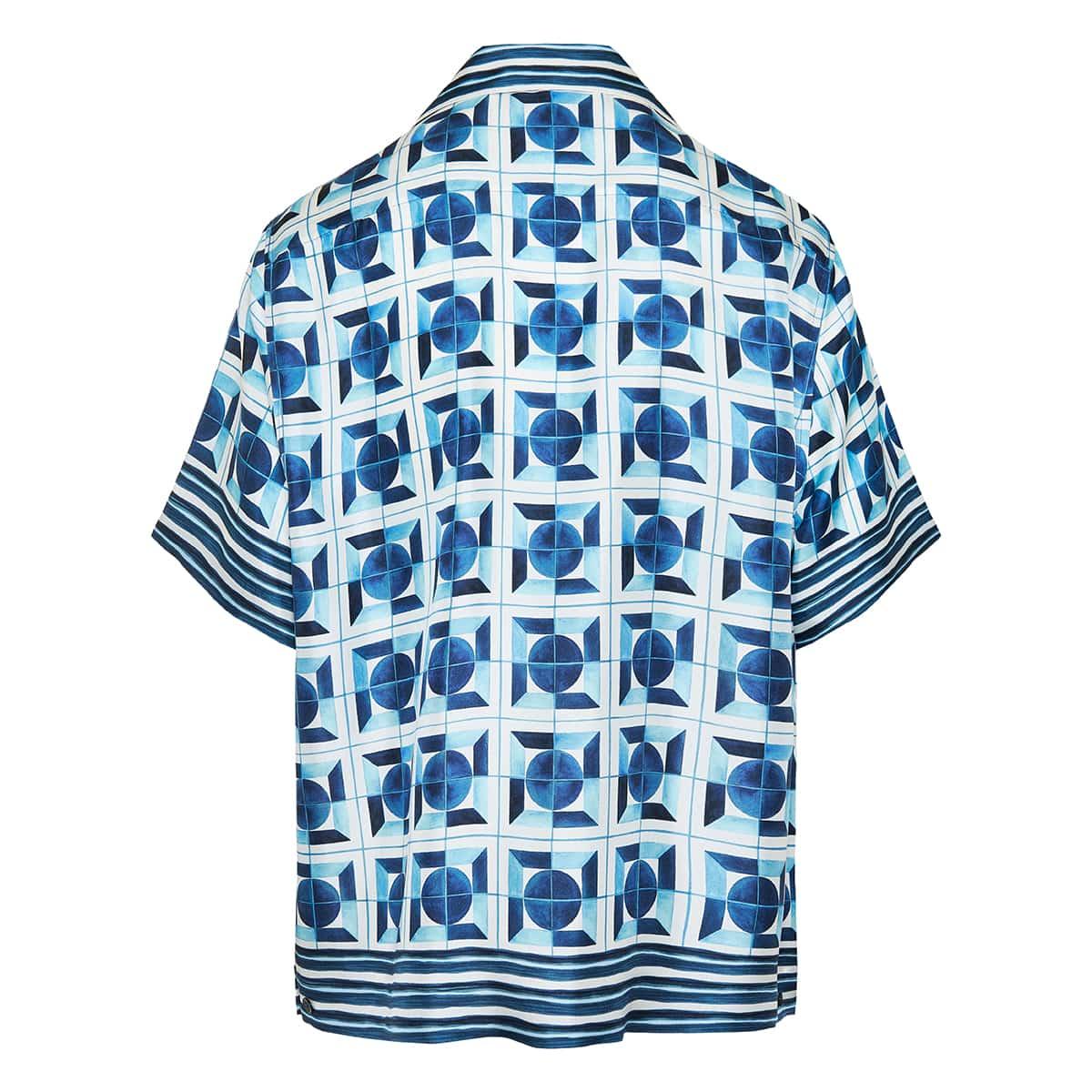 Majolica-print silk shirt
