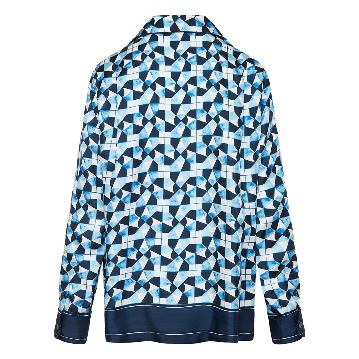 Majolica-print silk pajama shirt