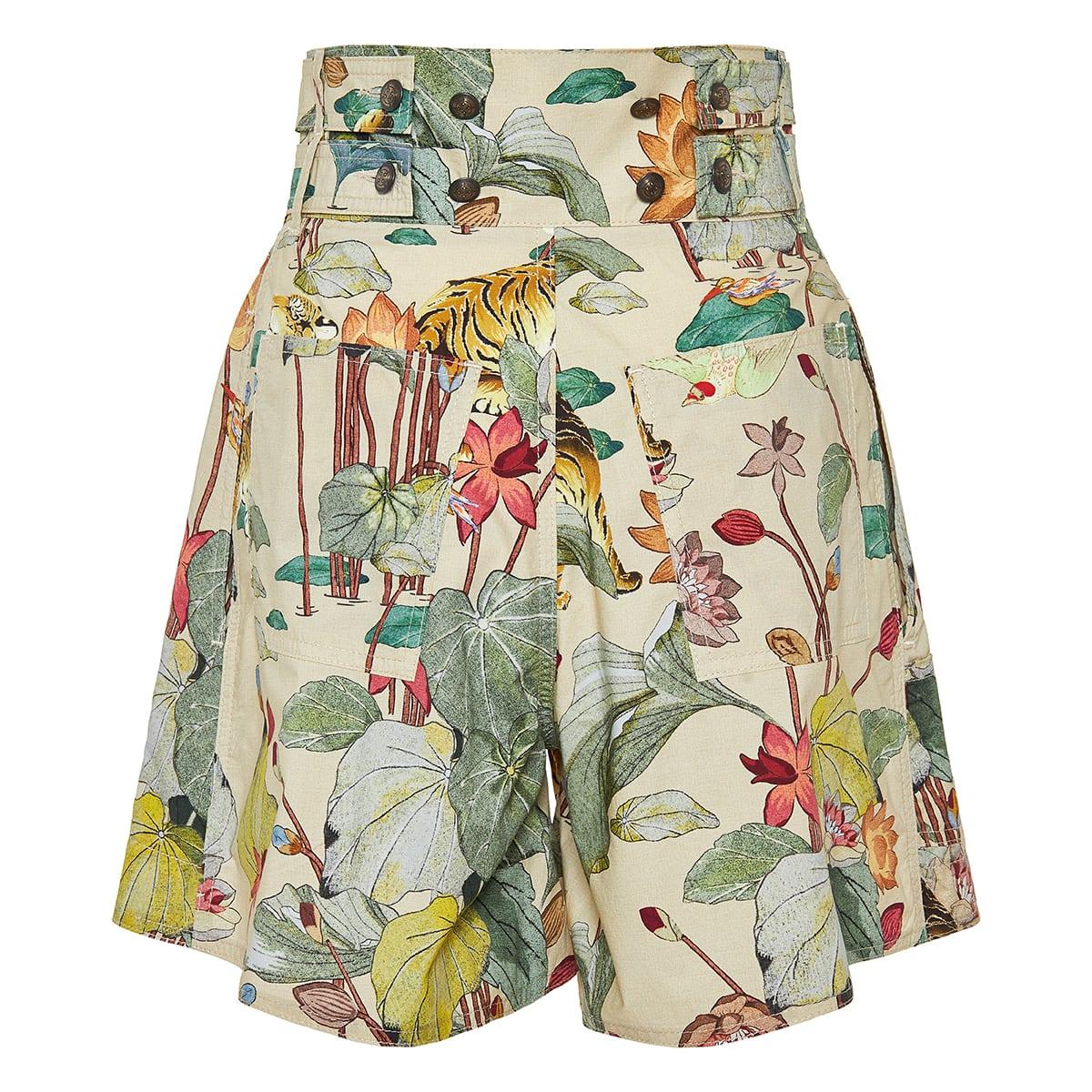 High-waist printed poplin shorts