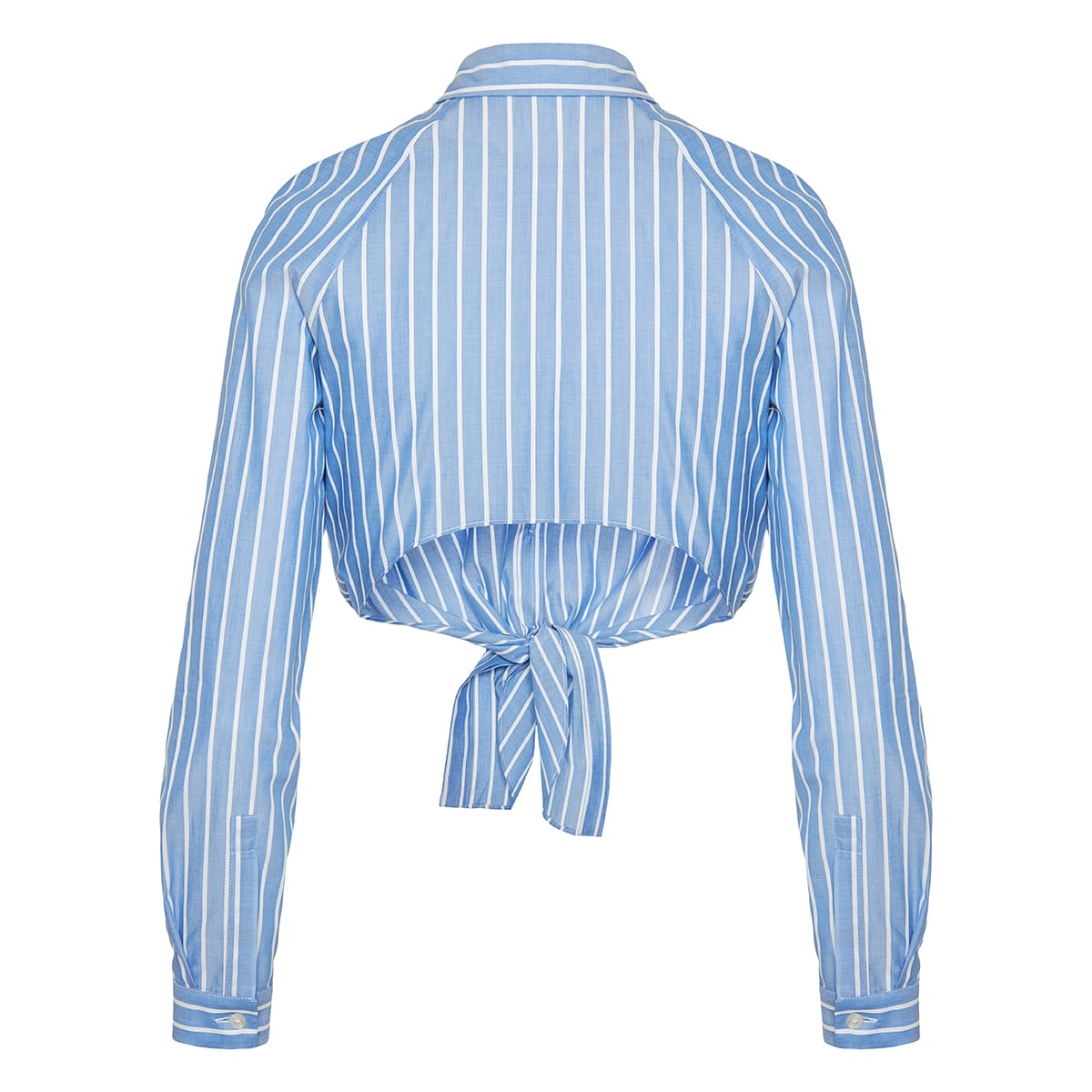 Striped knot cropped shirt