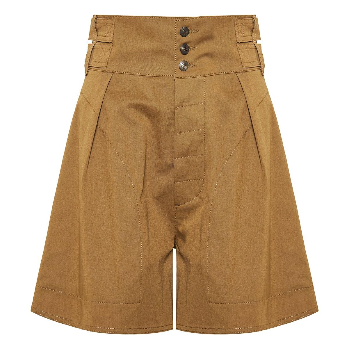 High-waist flared poplin shorts