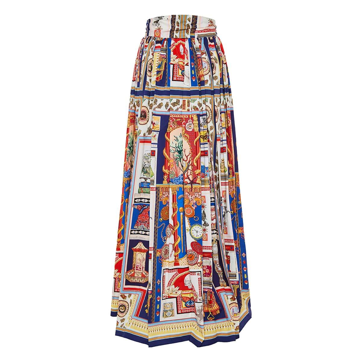 Printed pleated long skirt