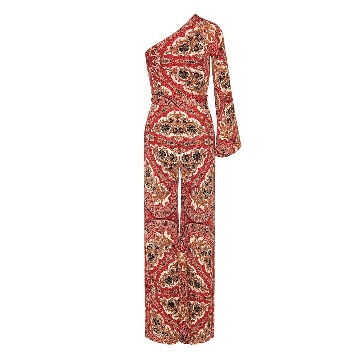 One-shoulder paisley silk jumpsuit