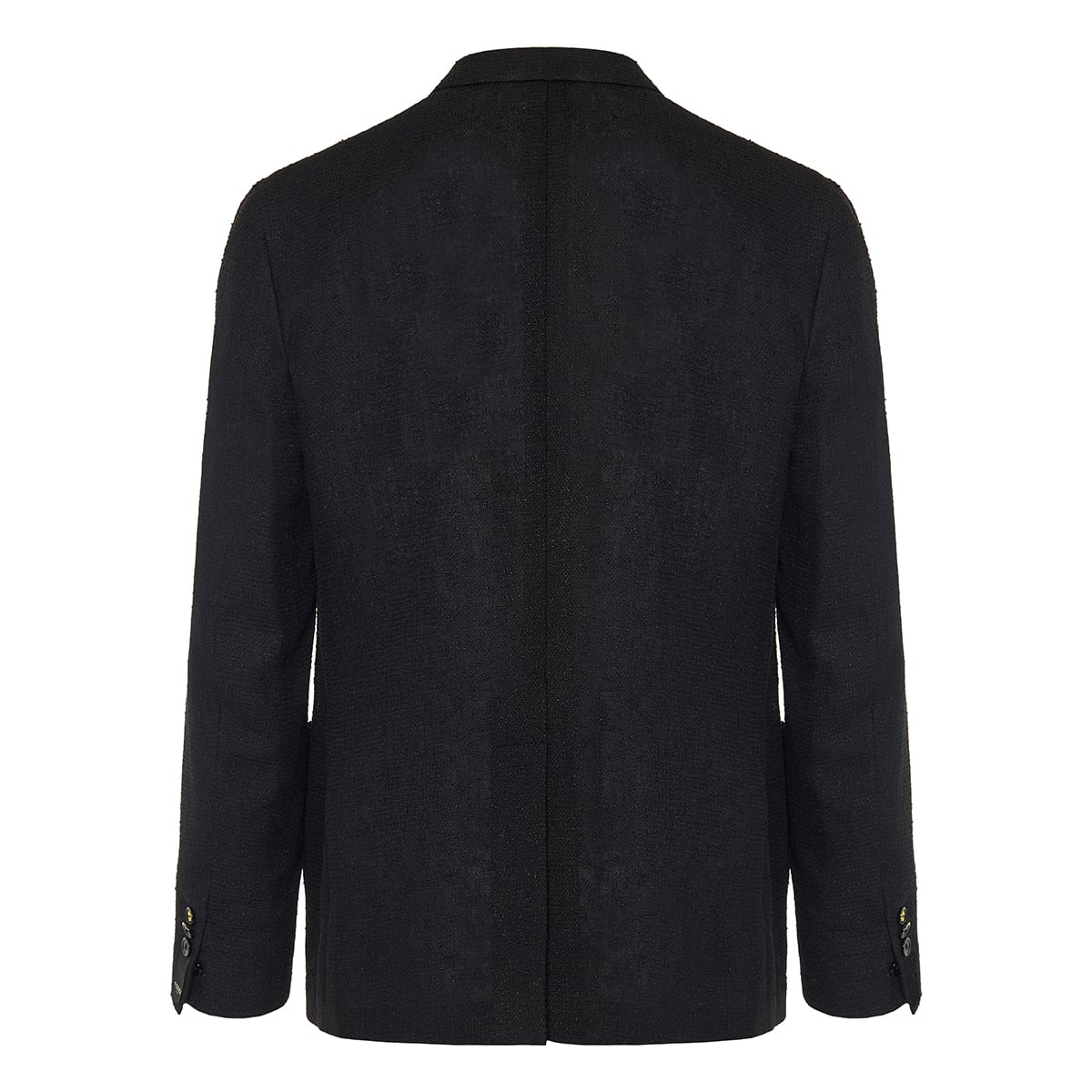 Single-breasted bouclé linen blazer