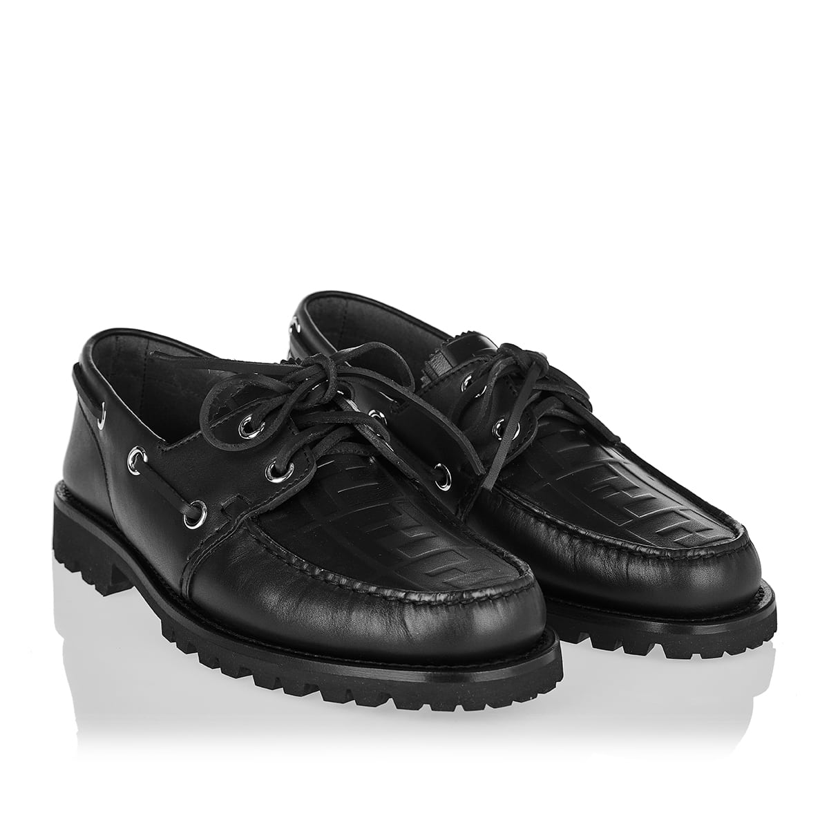 FF leather boat shoes