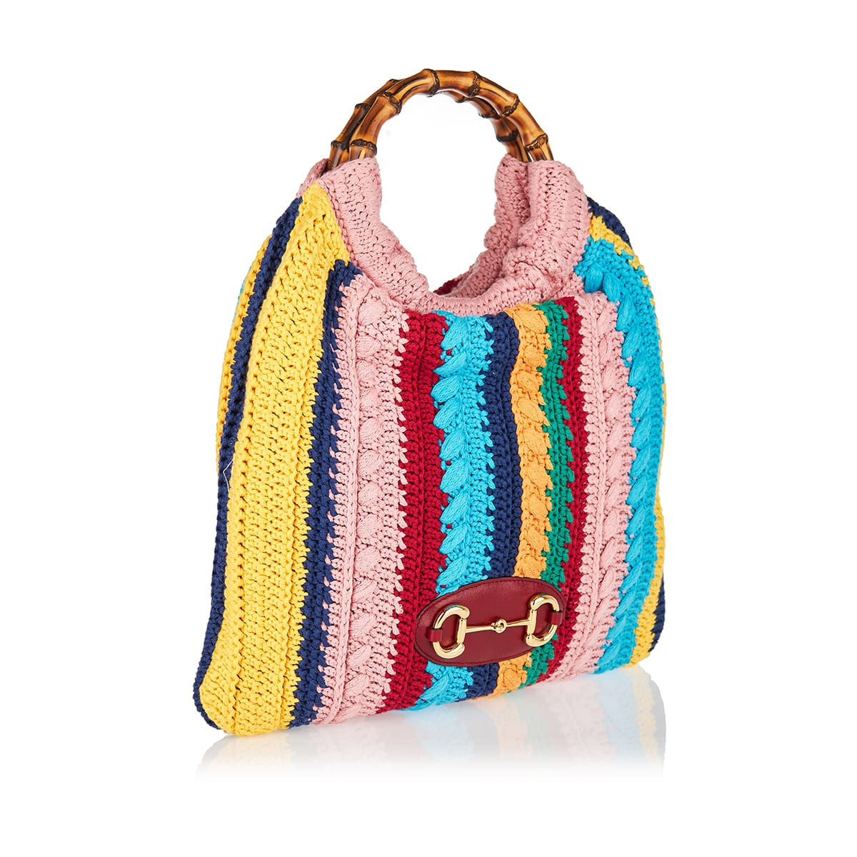 Horsebit 1955 striped crochet tote