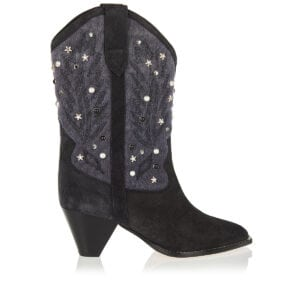 Luliette studded suede and canvas boots
