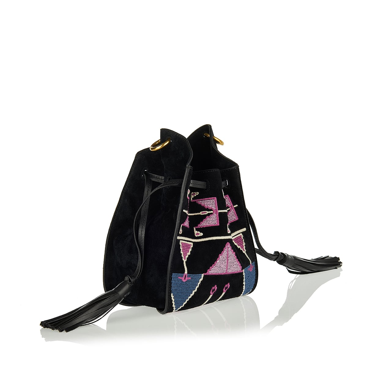 Embroidered suede bucket bag
