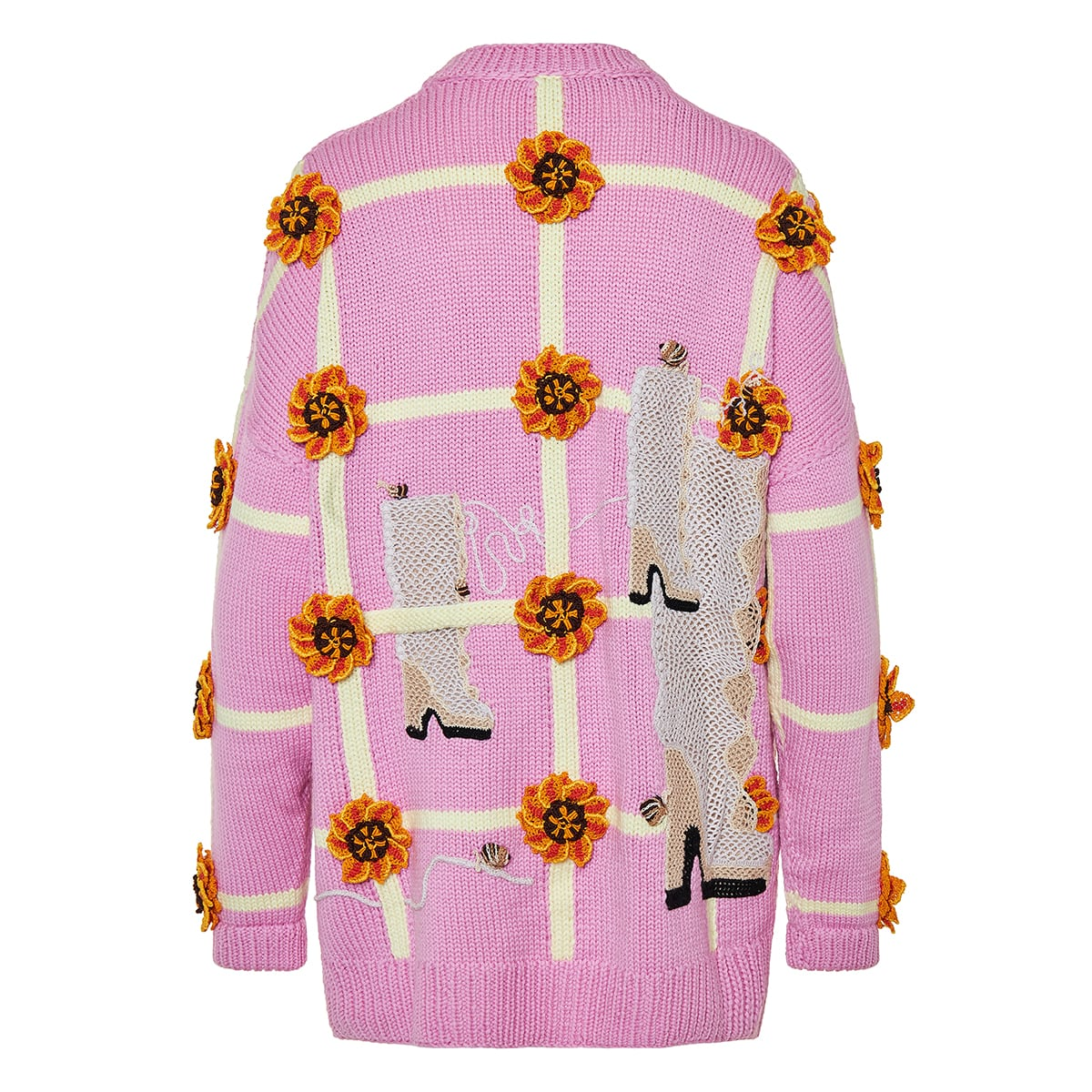 Oversized patterned jacquard cardigan