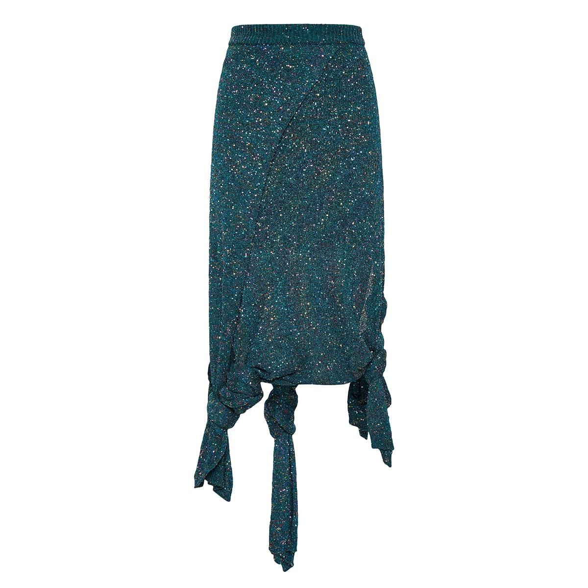 Asymmetric sequin knitted skirt