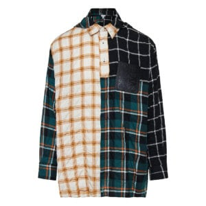 Checked patchwork hooded shirt