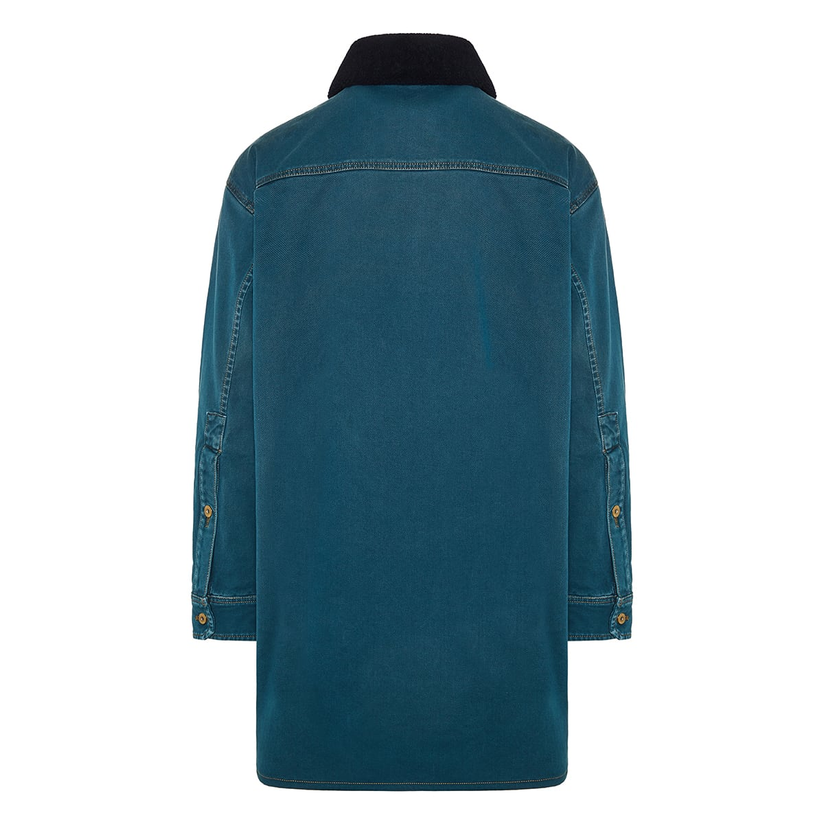 Shearling-trim denim overshirt
