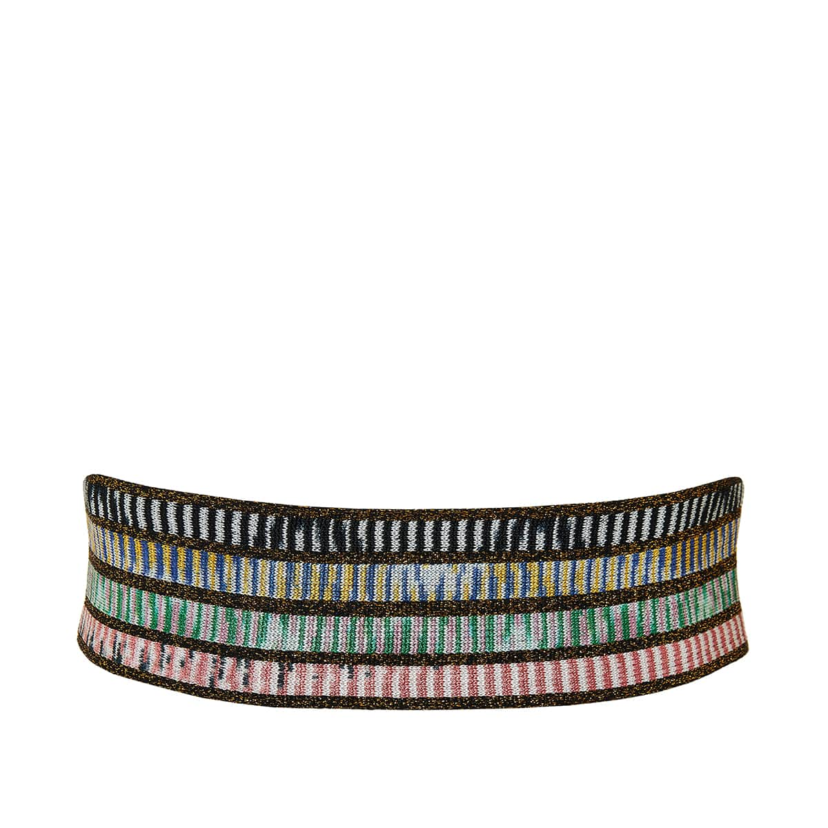 Leather-trim wide knitted belt