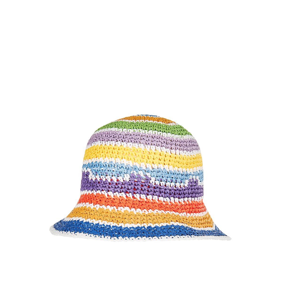 Striped knitted bucket hat