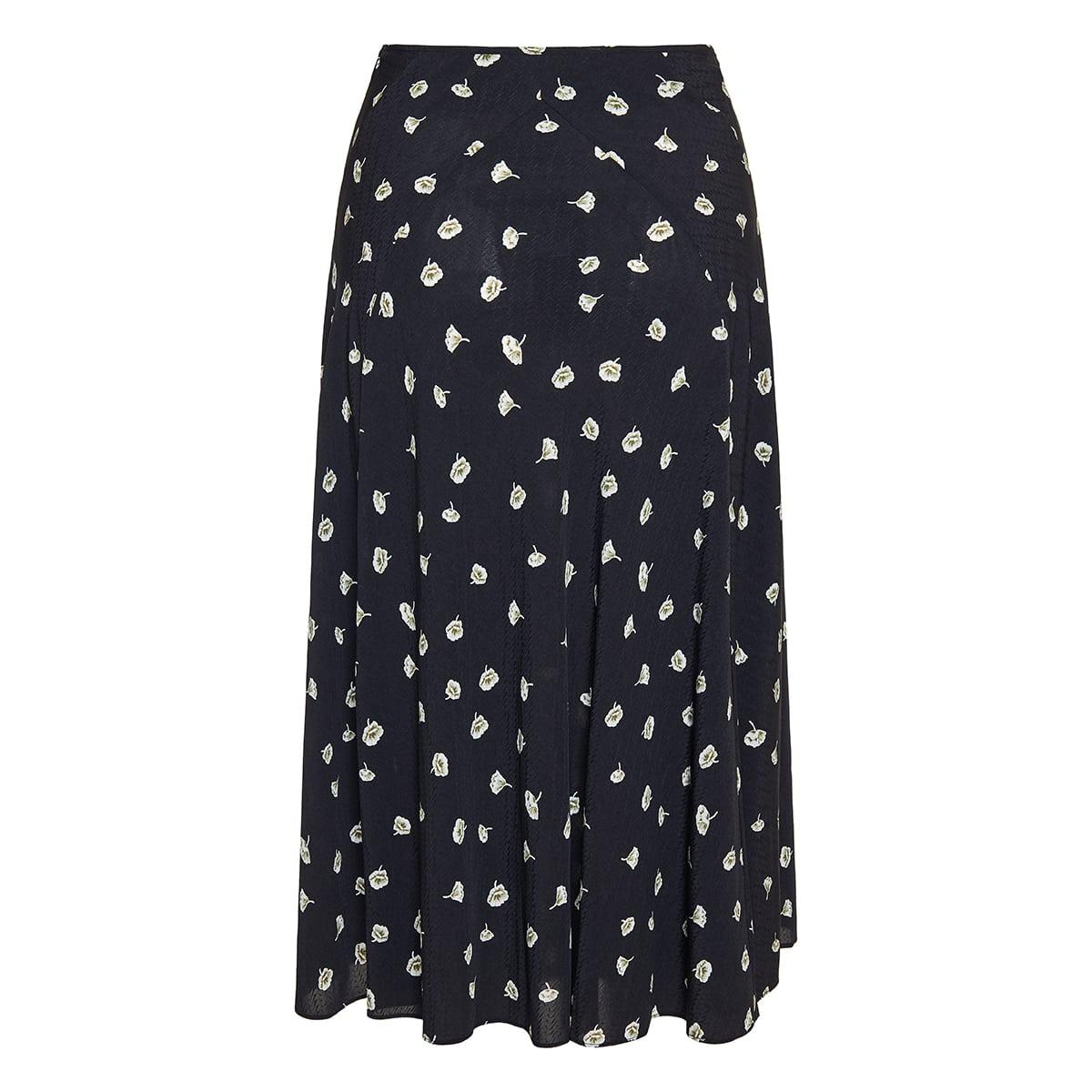 Eva floral pleated midi skirt